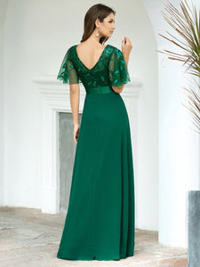 Color=Dark Green | Romantic Round Neck Ruffle Sleeves Chiffon & Sequin Prom Dress-Dark Green 2