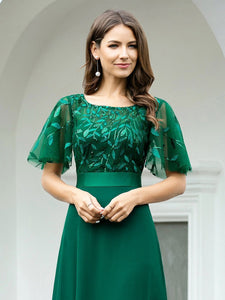 Color=Dark Green | Romantic Round Neck Ruffle Sleeves Chiffon & Sequin Prom Dress-Dark Green 3