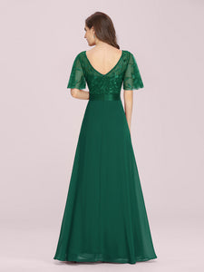 Color=Dark Green | Romantic Round Neck Ruffle Sleeves Chiffon & Sequin Prom Dress-Dark Green 7