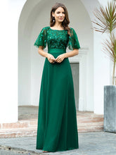 Load image into Gallery viewer, Color=Dark Green | Romantic Round Neck Ruffle Sleeves Chiffon & Sequin Prom Dress-Dark Green 1
