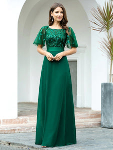 Color=Dark Green | Romantic Round Neck Ruffle Sleeves Chiffon & Sequin Prom Dress-Dark Green 1
