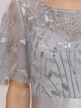 Load image into Gallery viewer, Color=Grey | Romantic Round Neck Ruffle Sleeves Chiffon & Sequin Prom Dress-Grey 5