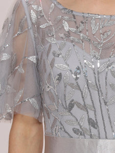 Color=Grey | Romantic Round Neck Ruffle Sleeves Chiffon & Sequin Prom Dress-Grey 5