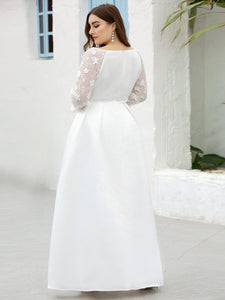 Color=White | Women'S A-Line Lace Long Sleeves Wedding Dresses Ep00707-White 6