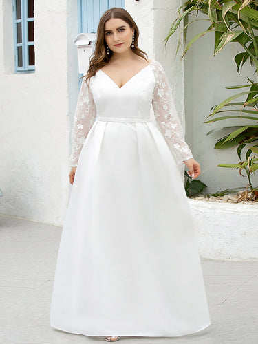 Color=White | Elegant Plus Size A-Line Lace Long Sleeves Wedding Dress-White 1