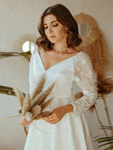 Load image into Gallery viewer, Color=White | Women'S A-Line Lace Long Sleeves Wedding Dresses Ep00707-White 1