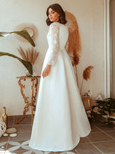 Load image into Gallery viewer, Color=White | Women'S A-Line Lace Long Sleeves Wedding Dresses Ep00707-White 7