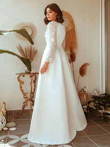 Color=White | Women'S A-Line Lace Long Sleeves Wedding Dresses Ep00707-White 7