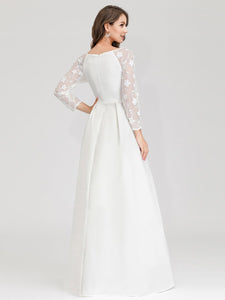 Color=White | Women'S A-Line Lace Long Sleeves Wedding Dresses Ep00707-White 1