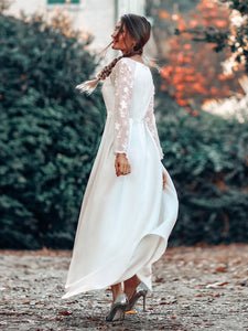 Color=White | Women'S A-Line Lace Long Sleeves Wedding Dress-White 10