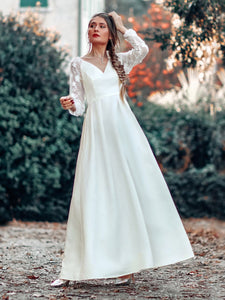 Color=White | Women'S A-Line Lace Long Sleeves Wedding Dress-White 9