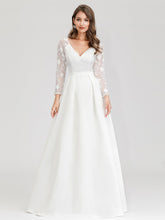 Load image into Gallery viewer, Color=White | Women'S A-Line Lace Long Sleeves Wedding Dresses Ep00707-White 10
