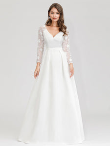 Color=White | Women'S A-Line Lace Long Sleeves Wedding Dresses Ep00707-White 10