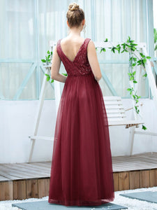 Color=Burgundy | Women'S Fashion A-Line  Floor Length Bridesmaid Dress-Burgundy 2