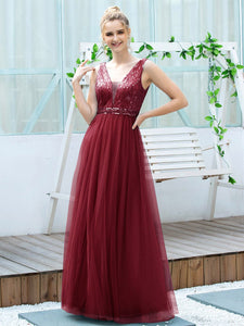 Color=Burgundy | Women'S Fashion A-Line  Floor Length Bridesmaid Dress-Burgundy 3