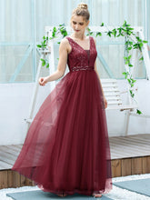 Load image into Gallery viewer, Color=Burgundy | Women'S Fashion A-Line  Floor Length Bridesmaid Dress-Burgundy 4