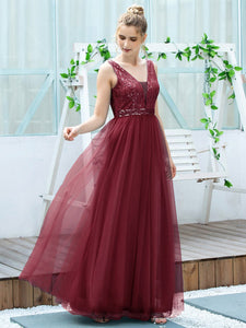 Color=Burgundy | Women'S Fashion A-Line  Floor Length Bridesmaid Dress-Burgundy 4