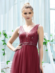 Color=Burgundy | Women'S Fashion A-Line  Floor Length Bridesmaid Dress-Burgundy 5