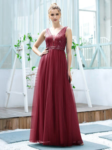 Color=Burgundy | Women'S Fashion A-Line  Floor Length Bridesmaid Dress-Burgundy 1