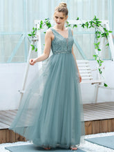 Load image into Gallery viewer, Color=Dusty Blue | Women'S Fashion A-Line  Floor Length Bridesmaid Dress-Dusty Blue 4