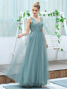Color=Dusty Blue | Women'S Fashion A-Line  Floor Length Bridesmaid Dress-Dusty Blue 4