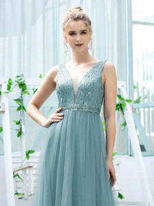Color=Dusty Blue | Women'S Fashion A-Line  Floor Length Bridesmaid Dress-Dusty Blue 5