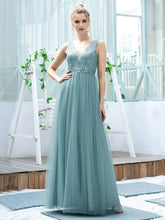 Load image into Gallery viewer, Color=Dusty Blue | Women'S Fashion A-Line  Floor Length Bridesmaid Dress-Dusty Blue 1