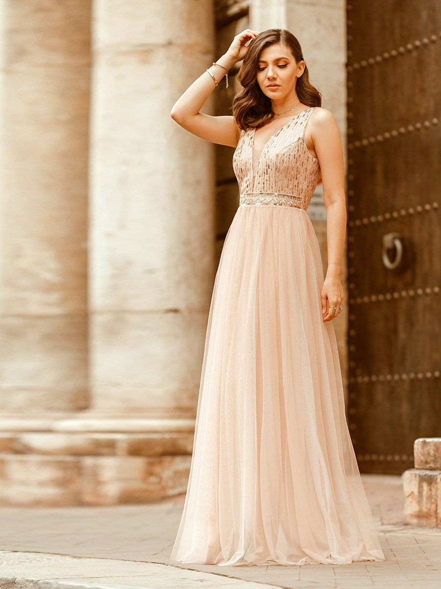 Color=Rose Gold | Women'S Fashion A-Line  Floor Length Bridesmaid Dress-Rose Gold 1