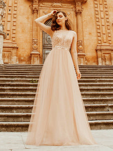 Color=Rose Gold | Women'S Fashion A-Line  Floor Length Bridesmaid Dress-Rose Gold 2