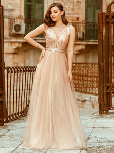 Color=Rose Gold | Women'S Fashion A-Line  Floor Length Bridesmaid Dress-Rose Gold 3
