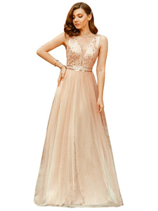 Color=Rose Gold | Women'S Fashion A-Line  Floor Length Bridesmaid Dress-Rose Gold 4