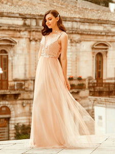Color=Rose Gold | Women'S Fashion A-Line  Floor Length Bridesmaid Dress-Rose Gold 5