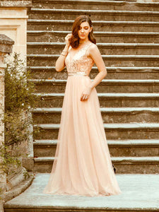 Color=Rose Gold | Women'S Fashion A-Line  Floor Length Bridesmaid Dress-Rose Gold 7