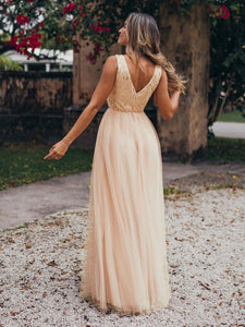 Color=Rose Gold | Women'S Fashion A-Line  Floor Length Bridesmaid Dress-Rose Gold 11
