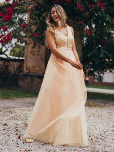 Color=Rose Gold | Women'S Fashion A-Line  Floor Length Bridesmaid Dress-Rose Gold 12