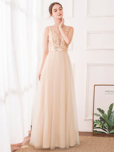 Color=Rose Gold | Women'S Fashion A-Line  Floor Length Bridesmaid Dress-Rose Gold 17