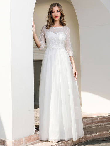 Colo=Cream | Elegant Round Neckline Tulle Wedding Dresses With Floral Lace-Colo=Cream 1
