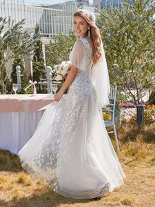 Color=White | Modern Floor Length Embroidered Sequined Tulle Wedding Dress-White 2