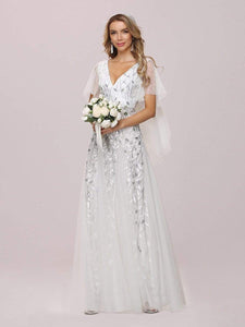 Color=White | Modern Floor Length Embroidered Sequined Tulle Wedding Dress-White 4