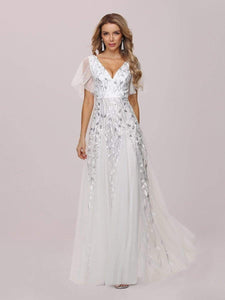 Color=White | Modern Floor Length Embroidered Sequined Tulle Wedding Dress-White 7