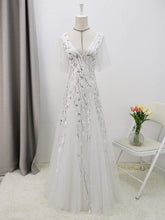 Load image into Gallery viewer, Color=White | Modern Floor Length Embroidered Sequined Tulle Wedding Dress-White 8