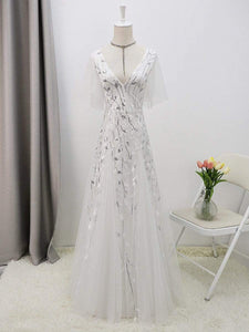 Color=White | Modern Floor Length Embroidered Sequined Tulle Wedding Dress-White 8