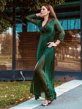 Load image into Gallery viewer, Color=Dark Green | Women'S Sexy V-Neck Long Sleeve Evening Dress-Dark Green 1