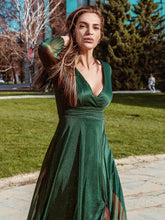 Load image into Gallery viewer, Color=Dark Green | Women'S Sexy V-Neck Long Sleeve Evening Dress-Dark Green 3