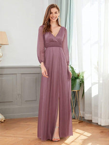 Efashiongirl Ever-Pretty Women's Sexy V-Neck Long Sleeve Evening Dresses EP00739