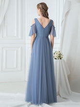 Load image into Gallery viewer, Color=Dusty Navy|Ruffle Sleeves Deep V-neck Applique Bridesmaid Dress-Dusty Blue 2