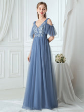 Load image into Gallery viewer, Color=Dusty Navy|Ruffle Sleeves Deep V-neck Applique Bridesmaid Dress-Dusty Blue 4