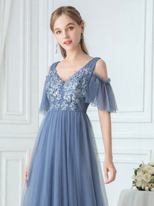 Color=Dusty Navy|Ruffle Sleeves Deep V-neck Applique Bridesmaid Dress-Dusty Blue 5