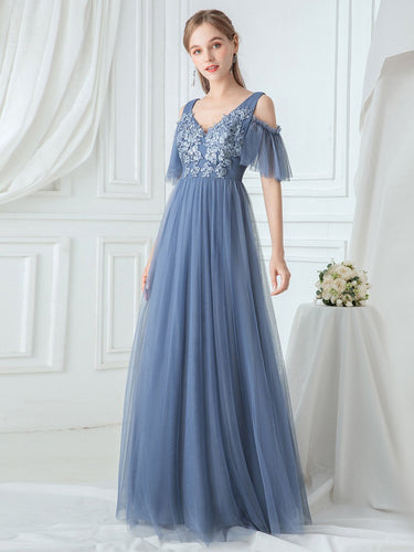 Color=Dusty Navy|Ruffle Sleeves Deep V-neck Applique Bridesmaid Dress-Dusty Blue 1