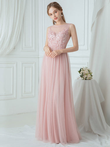 Color=Pink|Elegant Round Neck Tulle Applique Bridesmaid Dress-Pink 1